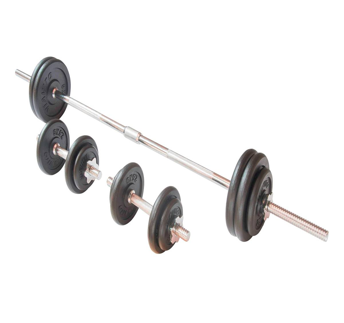 barbell set black bs09 50kg sports and games ltd