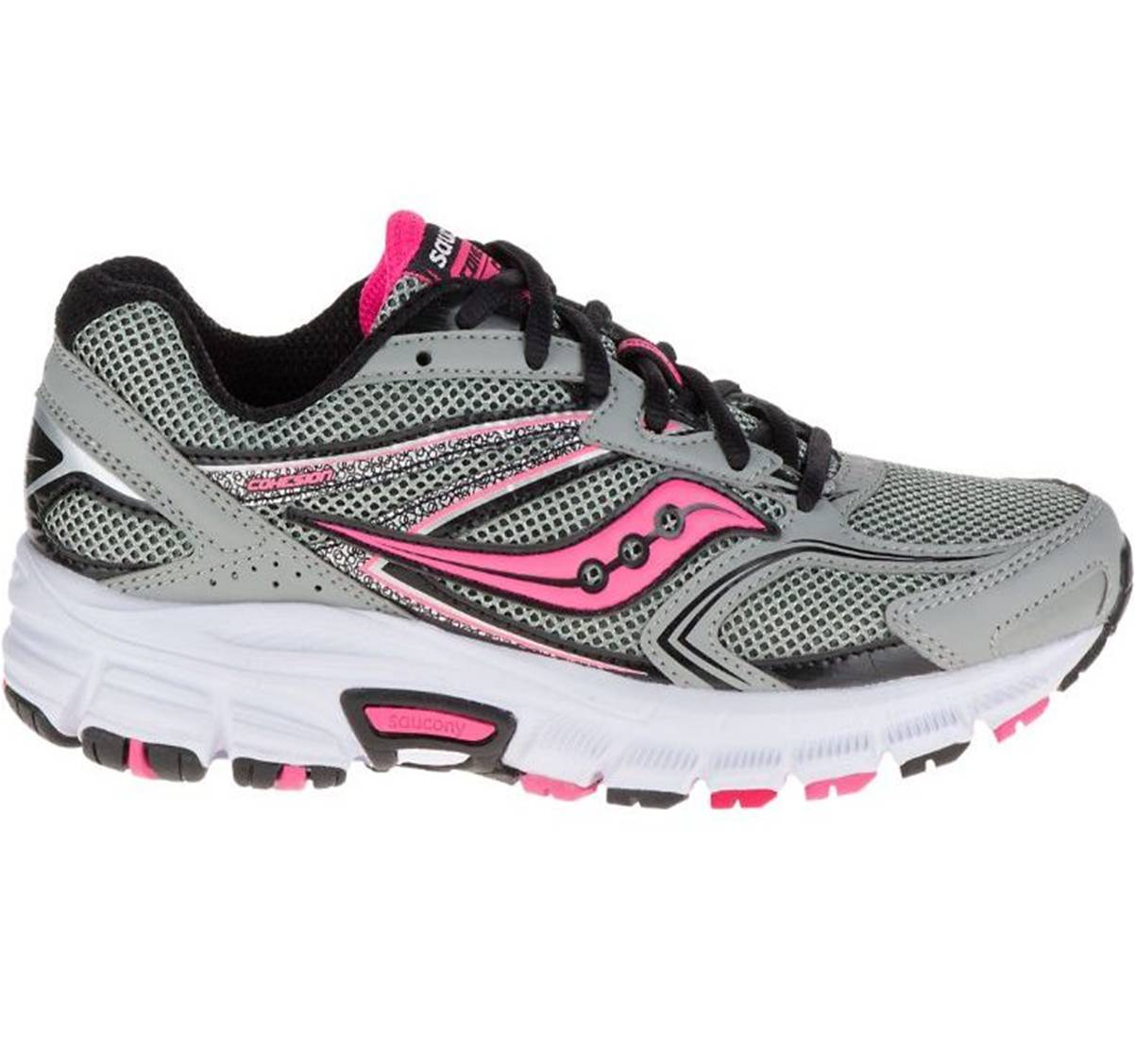 Saucony Cohesion 9 Wide Grey Black Pink Women Sports