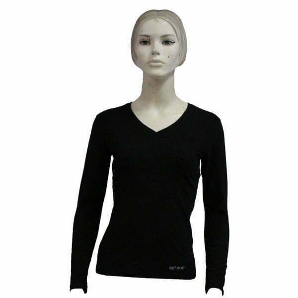 FS01108 – Lds V-Neck L-Sleeve – Black