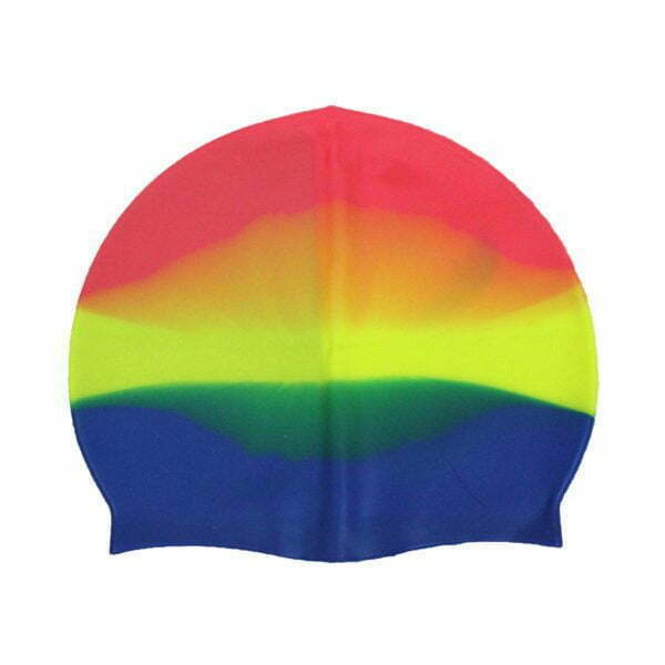28227 – Swim Cap SG-014 Silicone – Pink-Yellow-Blue